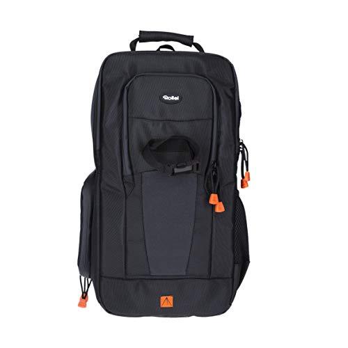 Rollei Fotoliner Slingbag, Kamararucksack für kleine DSLR und DSLM Kameras,als Handgepäck geeigneter daypack mit Regenschutz und Tablet-Fach in schwarz