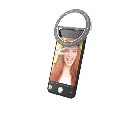 DIGIPOWER Smartphone-Ringlicht mit Bluetooth-Fernbedienung, 28 LED-Leuchten, 3 Helligkeitsstufen, Selfie Light (iOS/Android), wiederaufladbare Batterie für Selfies, Bilder, Make-Up und Tiktok