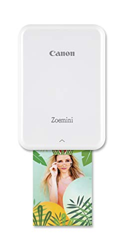 Canon Zoemini Mini Fotodrucker (Mini Fotodrucker, Bluetooth, 5 x 7,5cm Fotos, Akku, ZINK Druck tintenfrei, Sofortdruck, iOS, Android, Printapp, 160 g, 314 x 400 dpi) weiß