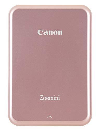 Canon Zoemini Mini Fotodrucker (Mini Fotodrucker, Bluetooth, 5 x 7,5cm Fotos, Akku, ZINK Druck tintenfrei, Sofortdruck, iOS, Android, Printapp, 160 g, 314 x 400 dpi), rose gold