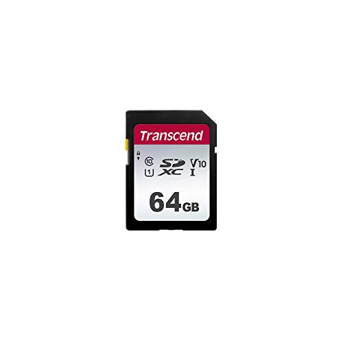 Transcend Highspeed 64GB SDXC Speicherkarte (für Digitalkameras; Bilder & Videos; Autoradio) Class 10, UHS-I U1, Video Speed Class V10 für 4K Ultra HD TS64GSDC300S-E (umweltfreundliche Verpackung)
