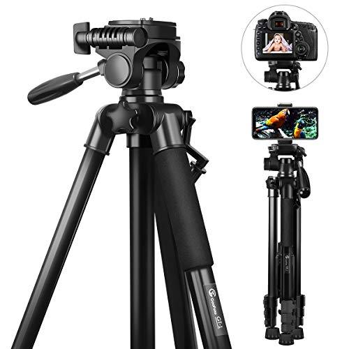 Stativ Kamera, GooFoto 148cm Leichtes Aluminium-Kamerastativ für DSLR Canon/Nikon/Sony, Handy Stativ für iPhone/Samsung/Huawei, Reisestativ mit Tragetasche und Telefonclip, Maximale Belastung 3 kg