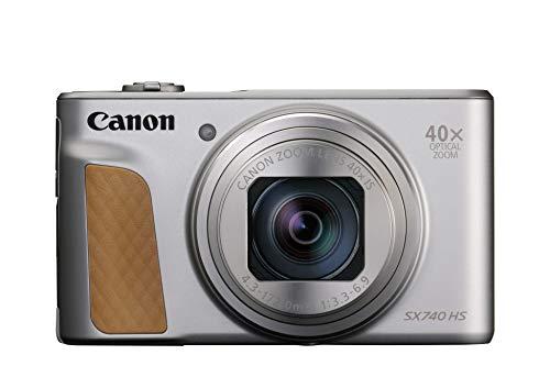 Canon PowerShot SX740 HS Digitalkamera (20,3 MP, 40-fach optischer Zoom, 7,5cm (3 Zoll) Display, DIGIC 8, 4K Ultra HD, HDMI, WLAN, Bluetooth, Blendenautomatik, Zeitautomatik), silber