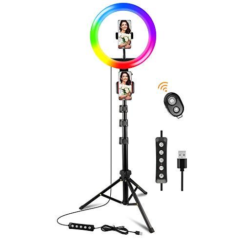 Ownaco LED Ringlicht mit Stativ(2021 Version),10''Selfie Ringleuchte mit Fernbedienung,15 Farbe 10 Helligkeitsstufe Dimmbare Blitzgeräte für Influencer/TikTok/YouTube/Selfie/Live Übertragung/Makeup