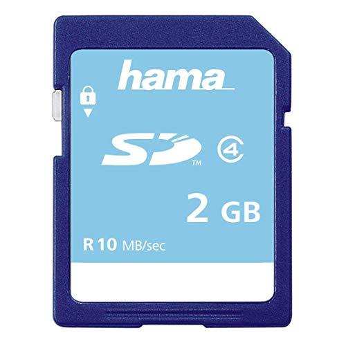 Hama Speicherkarte SD 2GB (SD-2.0 Standard, Class 4, Datensicherheit dank mechanischem Schreibschutz, Beschriftungsfeld)