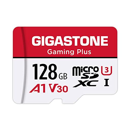Gigastone Gaming Plus 128GB MicroSDXC Speicherkarte und SD-Adapter, Kompatibel mit Nintendo Switch, Lesegeschwindigkeit bis zu 100MB/s, 4K UHD Videoaufnahmen, A1 U3 V30 Klasse 10 Micro SD Karte UHS-I