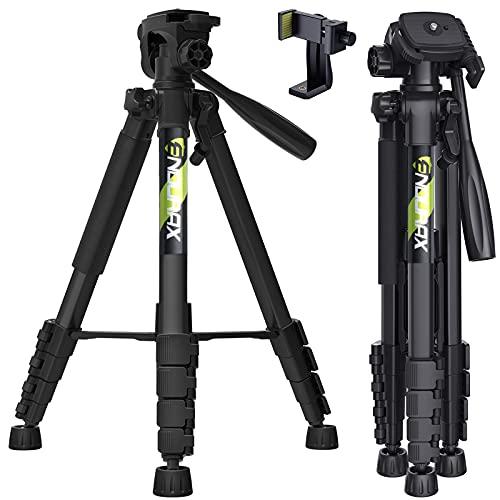 Endurax 167 cm / 66 inches Video Kamera Stativ für Canon Nikon Leichte Aluminium Reise DSLR Kameraständer mit Universal Phone Mount und Tragetasche von Endurax(Schwarz)