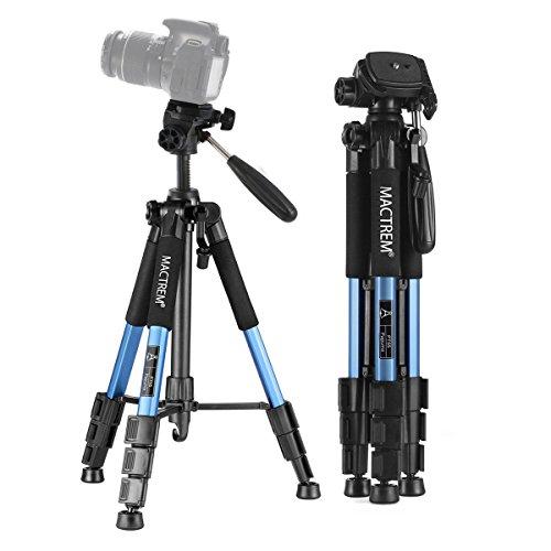 MACTREM Stativ Kamera, Kamerastativ Smartphone Handy Stativ 150cm Dreibeinstativ Reisestativ Fotostativ mitStativtasche (Blau)