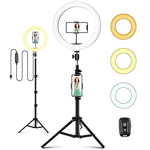 LED Ringlicht mit Stativ, 10 zoll / 25.4 CM Ringleuchte mit Stativ Ringlicht für handy Fernbedienung USB-betrieben 3 Lichtmodi 11 Helligkeitsstufen für Makeup, Live-Streaming, Selfie, Video-Chat, Vlog