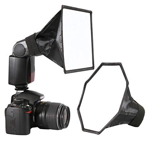 Blitzgerät Softbox Speedlight Diffusor Kit - 20cm Achteck Softbox + 20x15cm Softbox für Blitzgerät, Universalhalterung für Canon Nikon Blitz usw