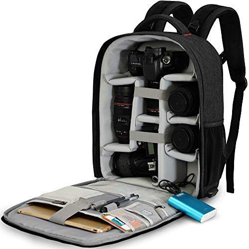 CADeN Kamerarucksack Spiegelreflex Tasche Wasserabweisend Fotorucksack mit Regenschutz Camera Backpack Bag Kompatibel mit Canon Nikon Sony 2 DSLR 7 Objektiv Stativ