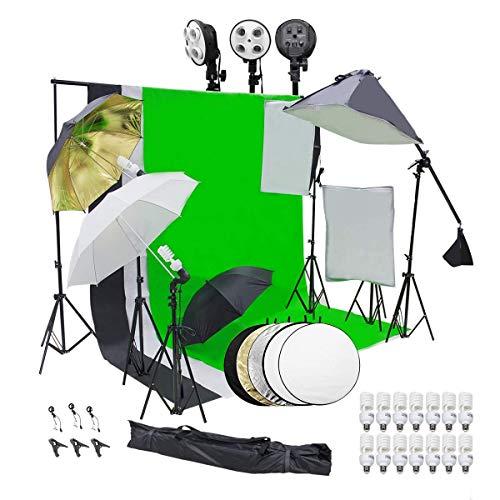 Wisamic Fotostudio Set Hintergrund Stützsystem Softbox Profi Studiosets Hintergrund Fotoleinwand- 3 Softbox Set 10ft x 6.5ft Hintergrundstoff 14 PCS Studioleuchte