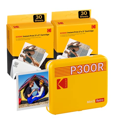 Kodak P300 Mini 3 Retro, Mobiler Handy Fotodrucker, Kompatibel mit Smartphone (iOS & Android), Bluetooth, 76x76 mm, 4Pass-Technologie, Laminierung, 68 Blatt, Gelb