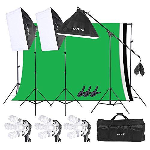 Andoer Softbox Fotostudio Studiolicht Fotoausrüstung Studioleuchte mit 12 * 45W Glühlampe + 3 * 4 in1 Lampenfassung + 3 * Softbox + 3 * Light Stand + 3*Vliesstoff Hintergrund+1 * Tragetasche