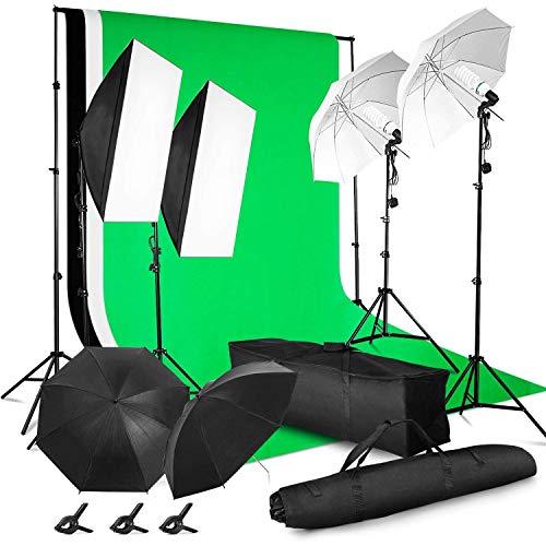 MVPower Profi Fotostudio Set inkl. 2 x 3m Hintergrundsystem mit 1.6 x 2m Reiner Baumwolle greenscreen Hintergrund, 5500K Regenschirme Softbox für Fotostudio, Produktfotografie und Videoaufnahme
