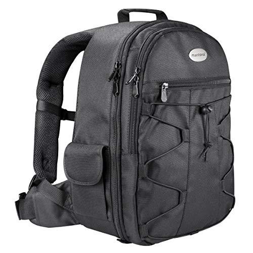Mantona Azurit Fotorucksack für SLR DSLR Kamera mit Halterung Stativ, Kamerarucksack, Camera Tasche groß, Backpack schwarz