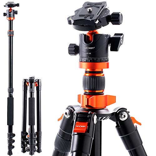 K&F Concept Kamerastativ SA254M1, Aluminium Stativ mit Einbeinstativ, 1/4 Zoll Gewinde Reisestativ mit 360° Kugelkopf für Canon Nikon Sony Spiegelreflexkamera inkl. Schnellwechselplatte 158cm