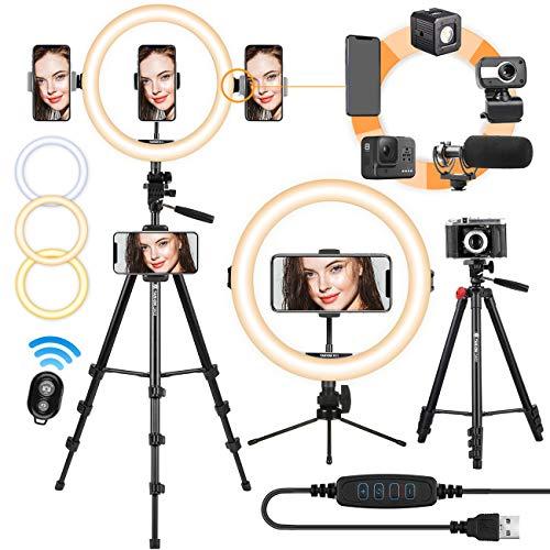 TARION LED Selfie Ringlicht Ringleuchte Licht Set 11 Zoll Blitzgeräte mit Stativ, Handyhalterung, Fernbedienung Dimmbare Lampe für Video Kamera Fotografie Vlog Aufnahme Portrait (Ringlicht + Stativ)