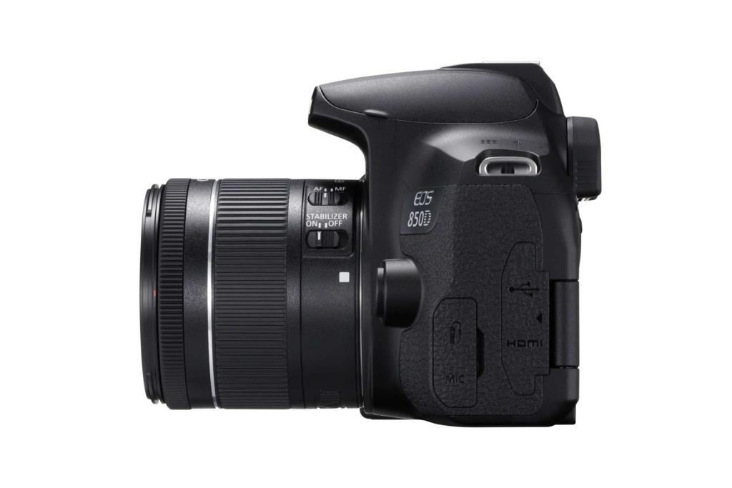 Die Canon EOS 850D in der Seitenansicht